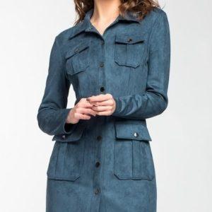 Заказать серо-бирюзовое платье тренч с поясом из эко замши для женщин