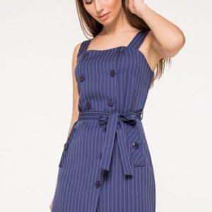 Заказать синий сарафан из костюмной ткани на широких бретелях для женщин