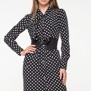 Заказать черное шелковое платье-рубашка в горошек для женщины