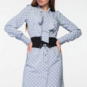 Купить голубое шелковое платье-рубашка в горошек для девушки