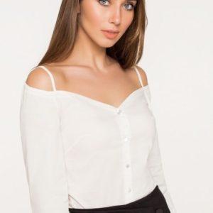 Заказать женская блузка с открытыми плечами на бретелях белого цвета