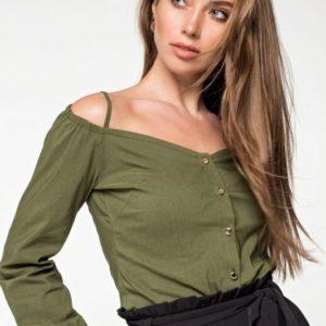 Купить женская блузка с открытыми плечами на бретелях зелёного цвета