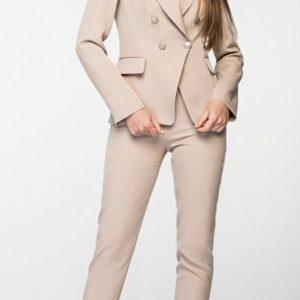 Купить женский брючный костюм из костюмной ткани кремового цвета