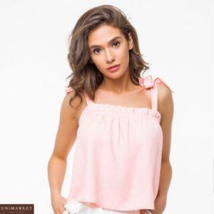 Купить женская льняная майка топ розового цвета