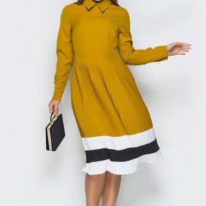 Купить женское платье с плиссированной юбкой из костюмной ткани желтого цвета