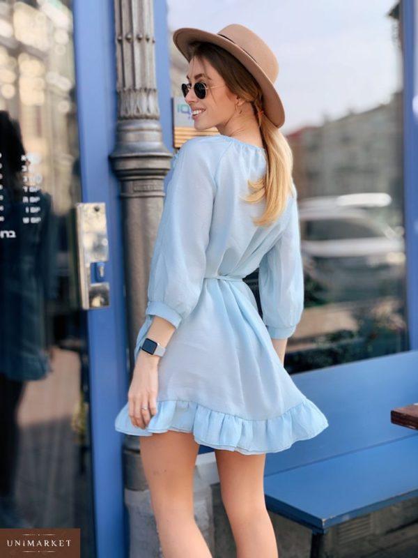 Приобрести недорого женское платье из шифона на запах больших размеров голубого цвета дешево
