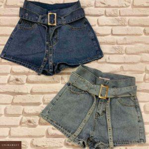 Приобрести женские джинсовые шорты с поясом оптом голубого цвета оптом Украина