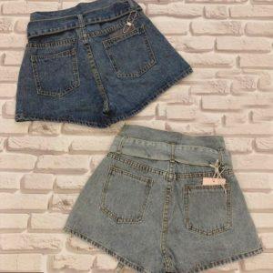 Заказать недорого женские джинсовые шорты с поясом в подарок синего цвета
