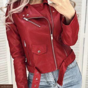 Приобрести женскую куртку весеннюю из экокожи оптом красного цвета Украина