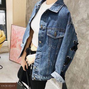 Купить дешево женскую куртку джинсовую свободного кроя с лентой атласной цвета синего в подарок