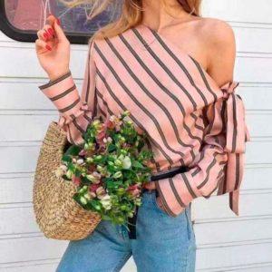 Купить дешево женскую блузу с одним плечом из коттона в подарок