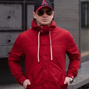 Заказать недорого мужскую весеннюю на трикотаже куртку больших размеров красного цвета в подарок