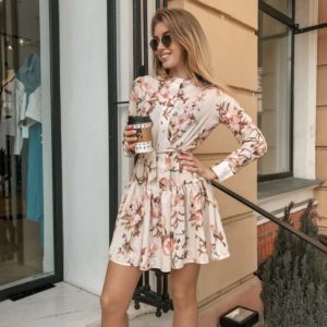 Приобрести женское платье весеннее с поясом из вискозы дешево