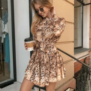 Заказать недорого женское весеннее платье из вискозы с поясом в подарок