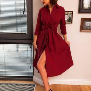 Купить женское бордовое платье миди с пуговицами и поясом больших размеров оптом Украина