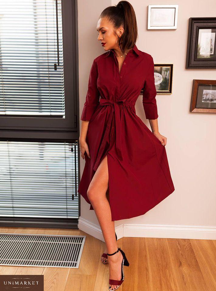 ba8fee2b57e93e4 Купить женское бордовое платье миди с пуговицами и поясом больших размеров  оптом Украина