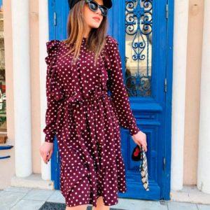 Купить в интернет-магазине женское платье из супер-софта в горошек с поясом бордового цвета недорого