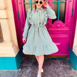 Заказать недорого женское платье с поясом из супер-софта в горошек цвета хаки в подарок