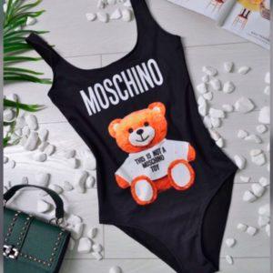 Купить в подарок женский слитный купальник Moschino с рисунком мишка недорого