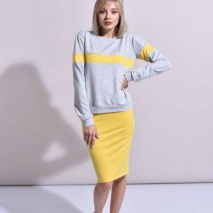Приобрести женский больших размеров костюм с карандаш-юбкой из двунитки серый меланж с желтым недорого