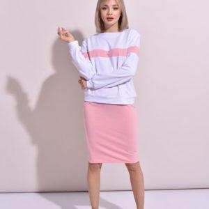 Заказать недорого женский костюм с юбкой-карандаш из двунитки белый с персиковым цветов больших размеров
