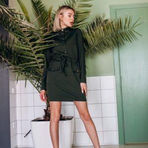 Приобрести женское платье креп-костюмка с карманами на пуговицах цвета хаки оптом Украина