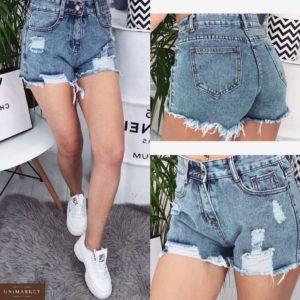Приобрести дешево женские шорты джинсовые с талией высокой голубого цвета оптом Украина