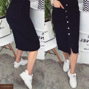 Купить женскую джинсовую юбку на пуговицах с карманами черного цвета недорого