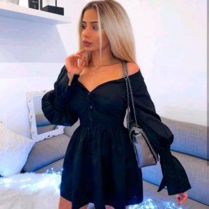 Купить в интернет-магазине женское платье из коттона с обьемными рукавами темно-синего цвета недорого