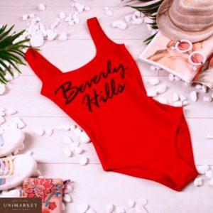 Приобрести недорого женский слитный купальник - боди из эластана beverly hills красного цвета дешево