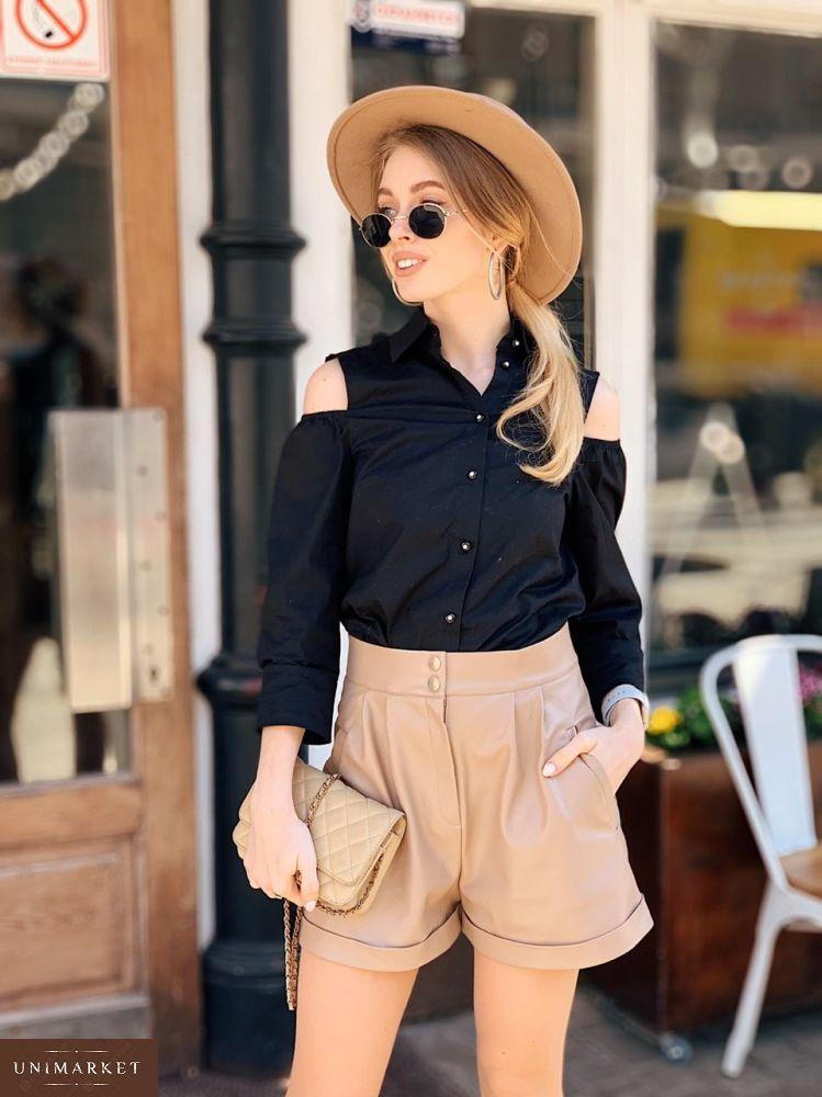 2afb44dd769 Купить дешево женскую рубашку с открытыми плечами из хлопка черного цвета в  подарок