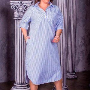 Купить женское платье из турецкого коттона - рубашка большого размера дешево