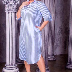 Заказать дешево женское платье - рубашка большого размера из турецкого коттона в подарок