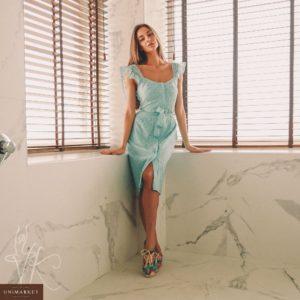 Приобрести недорого женское платье из набивного гипюра на подкладке с поясом бирюзового цвета дешево