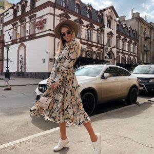 Купить дешево женское платье миди с цветочным рисунком из вискозы-софт в подарок