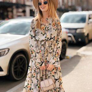 Приобрести недорого женское платье миди из вискозы-софт с цветочным рисунком дешево