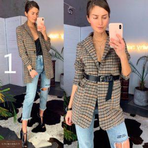 Приобрести недорого женский удлиненный пиджак из костюмной шерсти с поясом дешево