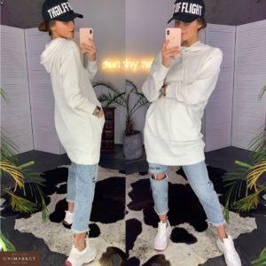 Заказать в подарок женский худи из хлопка с карманами и капюшоном белого цвета большого размера