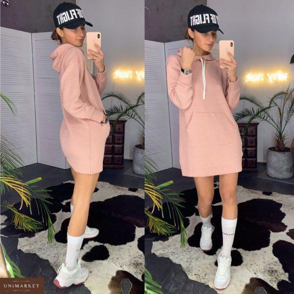 Купить недорого женский худи из хлопка большого размера с карманами и капюшоном цвета пудры