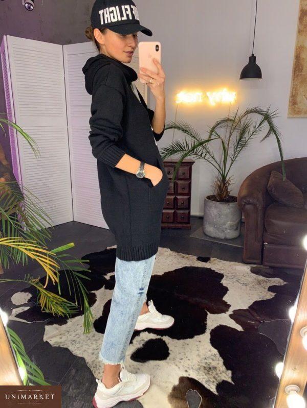 Приобрести большого размера женский худи с карманами из хлопка и капюшоном черного цвета дешево