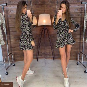 Приобрести дешево женское платье на запах из софта с цветочным принтом черного цвета оптом Украина