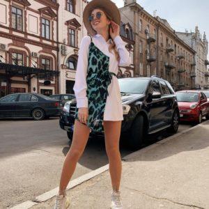 Купить дешево женское платье - рубашку из шифона с имитацией майки бело-аквамаринового цвета в подарок