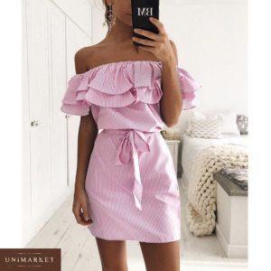 Приобрести дешево женское платье с оборкой с открытыми плечами на резинке розового цвета оптом Украина