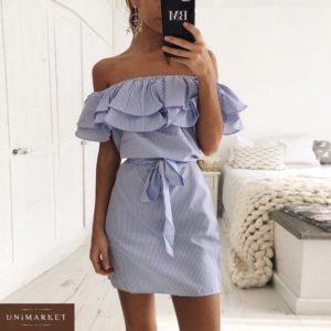 Купить в интернет-магазине женское платье с оборкой на резинке с плечами открытыми голубого цвета недорого