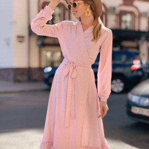 Заказать женское платье миди на запах с поясом в мелкий горох большого размера розового цвета в подарок