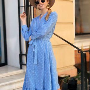 Приобрести женское платье миди с поясом на запах в горох мелкий большого размера голубого цвета дешево