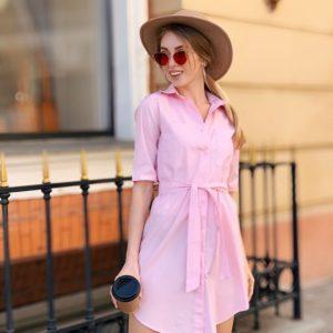 Приобрести женское платье - рубашка с поясом из поликоттона на талии большого размера розового цвета дешево