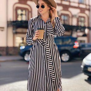Заказать в подарок женское платье - рубашку в полоску черно-белую из софта с карманом большого размера