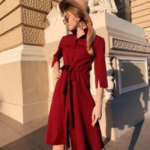 Купить недорого платье женское из креп костюмки бордового цвета большого размера с поясом на талии