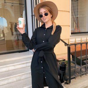 Приобрести женское платье однотонное миди из софта с поясом и карманами черного цвета большого размера дешево